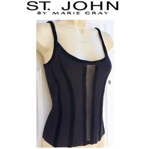 ST. JOHN Knit Black Sheer Panel Sleeveless Top 4